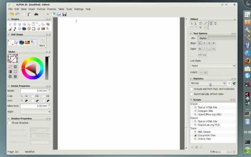 KDE 4.1 - Koffice 2.0 Alpha 10